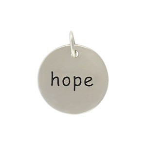 Sterling Silver Word Charm - Hope - Round