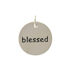 Sterling Silver Round Word Charm - Blessed 15x12mm