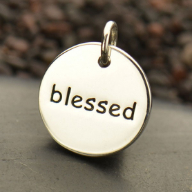 Sterling Silver Word Charm - Blessed - Round