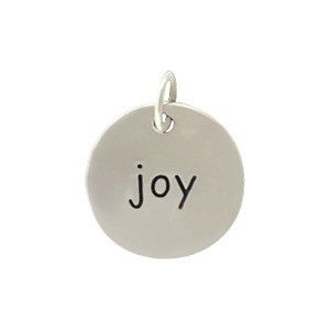 Sterling Silver Round Word Charm - Joy 15x12mm
