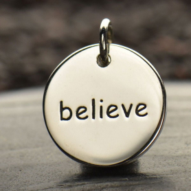 Sterling Silver Word Charm - Believe - Round