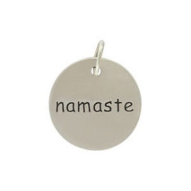 Sterling Silver Word Charm - Namaste - Round