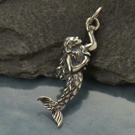 Sterling Silver Mermaid Charm - Beach Charm - 3D