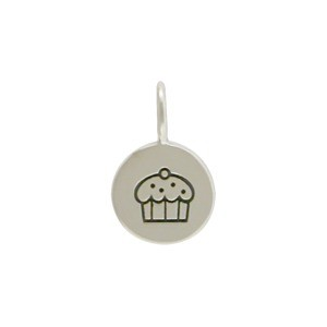 Sterling Silver Cupcake Charm - Food Charm DISCONTINUED