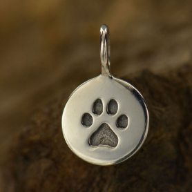 Sterling Silver Small Round Charm with Etched Paw Print