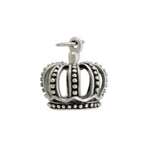 Sterling Silver 3D Crown Charm 15x11mm