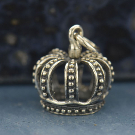 Sterling Silver Crown Charm - 3D