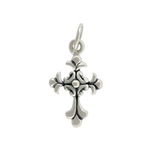 Small Sterling Silver Cross Charm - Textured 18x9mm
