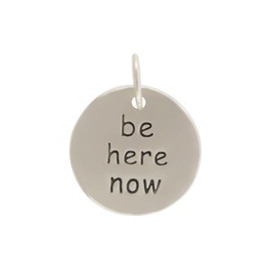 Sterling Silver Word Charm - Be Here Now Round