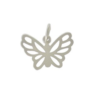 Sterling Silver Butterfly Charm 13x15mm