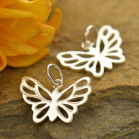 Sterling Silver Butterfly Charm - Small