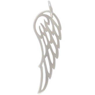 Sterling Silver Wing Charm 27x8mm