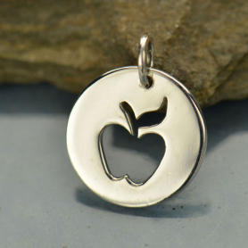Sterling Silver Round Charm with Apple Cutout 15x12mm