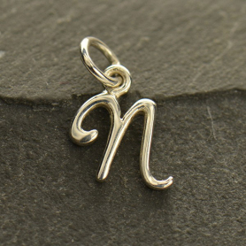 Sterling Silver Initial Charm Letter N