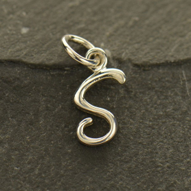Sterling Silver Initial Charm Letter S 15x6mm