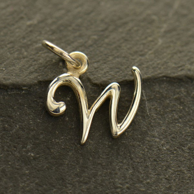 Sterling Silver Initial Charm Letter W