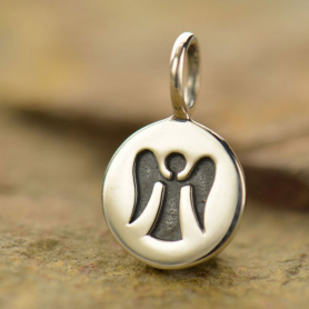 Sterling Silver Small Round Charm with Etched Angel