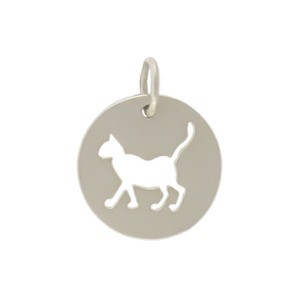 Silver Round Charm with Cutout Cat 15x12mm