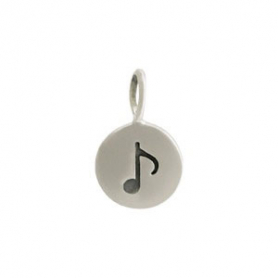 Sterling Silver Etched Music Note Charm on Round Disc 13x8mm
