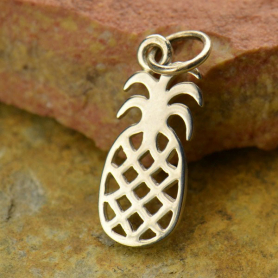 Sterling Silver Pineapple Charm - Food Charm - Flat
