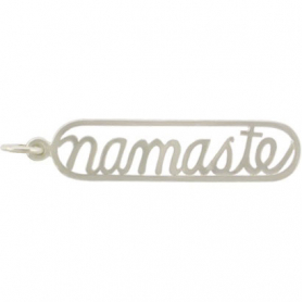 Sterling Silver Word Charm - Namaste - Openwork 35x7mm