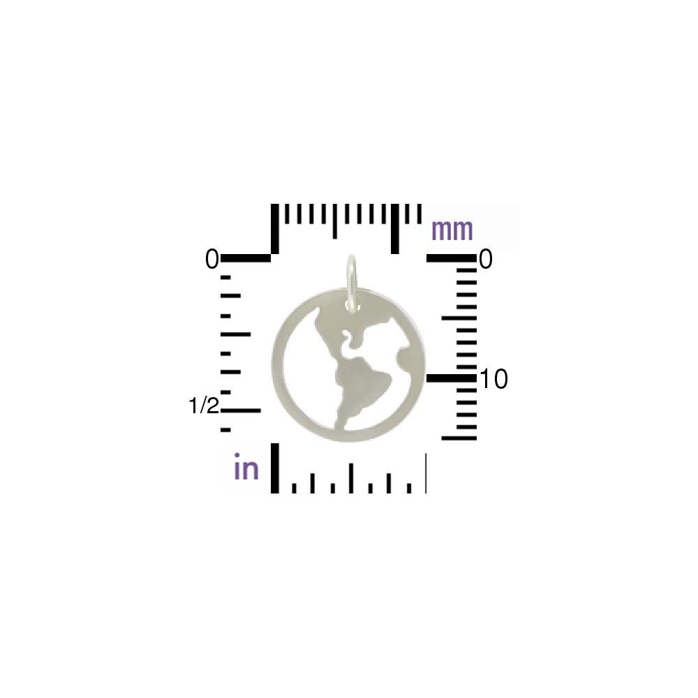 Sterling Silver Openwork World Charm 16x13mm