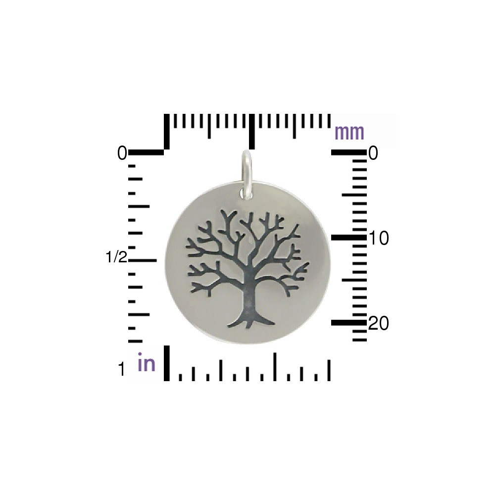 Sterling Silver Etched Tree of Life on Round Charm 23x20mm