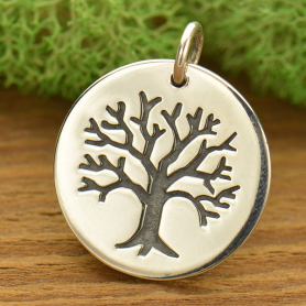 Sterling Silver Tree of Life Charm on Large Round Charm