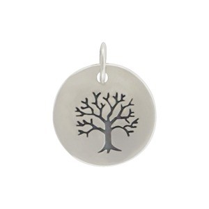 Sterling Silver Etched Tree of Life on Round Charm 16x12mm