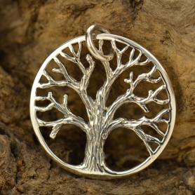 Sterling Silver Tree of Life Pendant - Textured - Medium