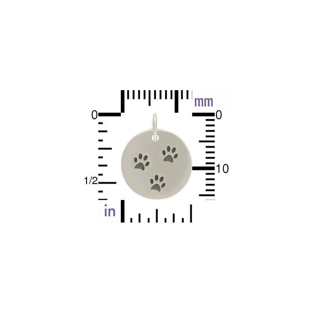 Sterling Silver Round Charm with Three Paw Prints 16x12mm