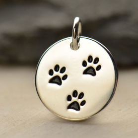 Sterling Silver Round Charm with Three Paw Prints
