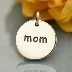 Sterling Silver Word Charm - Mom - Round DISCONTINUED
