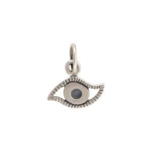 Sterling Silver Evil Eye Charm 12x10mm