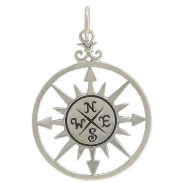 Sterling Silver Compass Rose Pendant 30x20mm