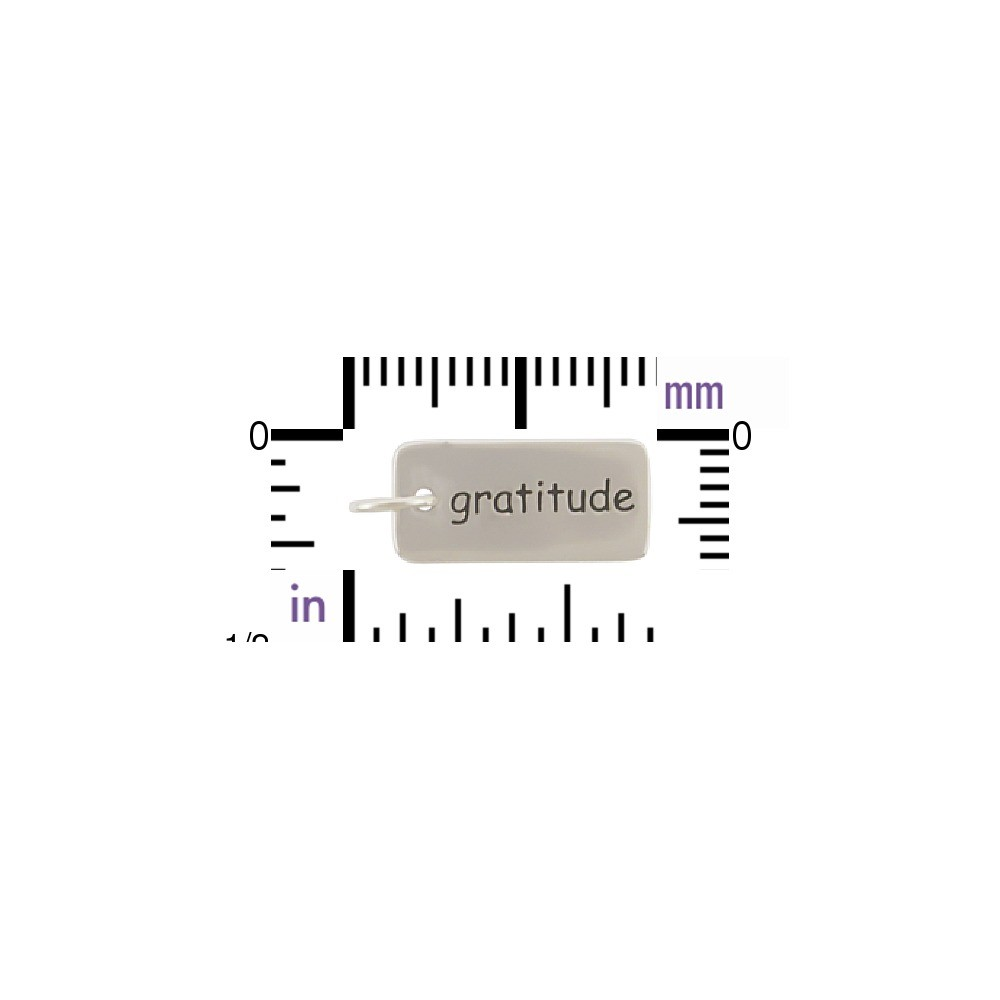 Sterling Silver Word Charm - Gratitude 18x7mm