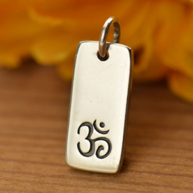 Sterling Silver Om Charm on Rectangle Tag 18x7mm