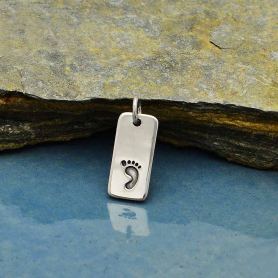 Sterling Silver Footprint Charm on Rectangle Tag
