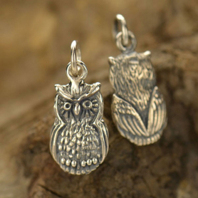 Sterling Silver Owl Charm - Animal Charm - Textured