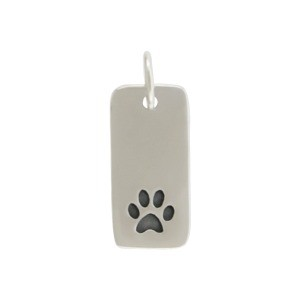 Sterling Silver Paw Print Charm on Rectangle Tag 18x7mm