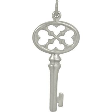 Sterling Silver Key Charm 34x14mm