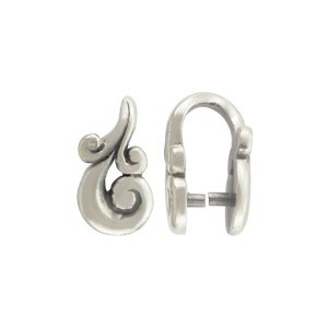 Sterling Silver Jewelry Bail - Pinch Bail 11x7mm