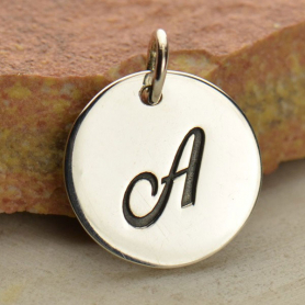 Sterling Silver Initial Charm Cursive Letter Charm A 16x13mm