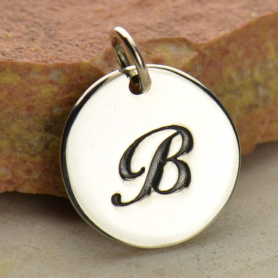 Sterling Silver Initial Charm Cursive Letter Charm B 16x13mm