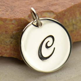 Sterling Silver Initial Charm Cursive Letter Charm C 16x13mm