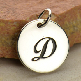 Sterling Silver Initial Charm Cursive Letter Charm D 16x13mm