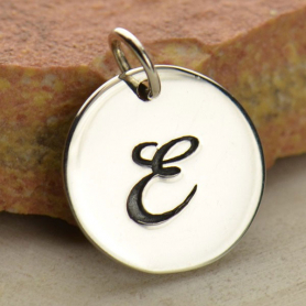 Sterling Silver Initial Charm Cursive Letter Charm E 16x13mm
