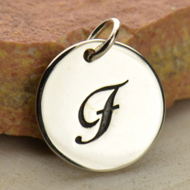 Sterling Silver Initial Charm Cursive Letter Charm F 16x13mm