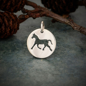 Sterling Silver Round Charm with Horse Cutout 16x12mm
