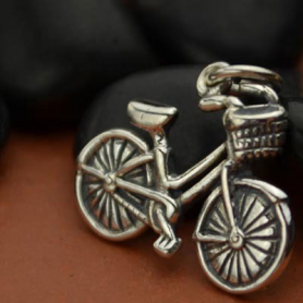 Sterling Silver Bicycle Charm - Sports Charms - Textured